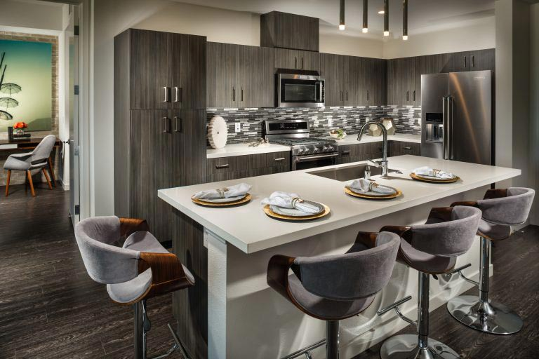 X67 Lofts' 4R kitchen in this Marina del Rey new home is a chef's and entertainer's dream.