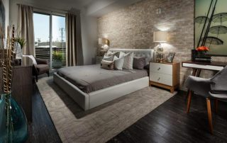 The X67 Lofts 4R master bedroom showcases luxury living in this Marina del Rey new home.