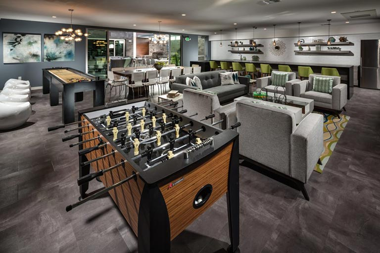 One of the most popular amenities at X67 Lofts luxury Marina del Rey condos is the expansive community room.